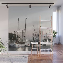 Fishing Boats on the Water at Sunset Wall Mural