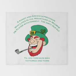A Randy And Green Leprechaun St Patrick's Day Limerick Throw Blanket