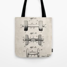 Weight Lifting Patent - Dumb Bell Art - Antique Tote Bag