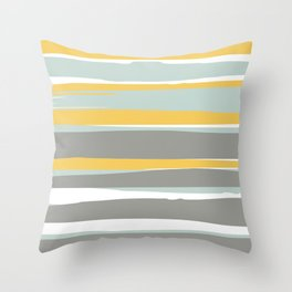 Stripe Abstract, Sun and Beach, Yellow, Pale, Aqua Blue and Gray Throw Pillow