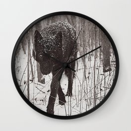 Snow Wolf Wall Clock