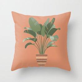 Banana tree in a sisal basket Throw Pillow