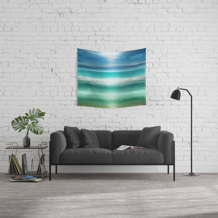"""""""Blue sky over teal sea South"""" Wall Tapestry"""