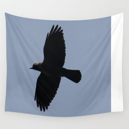 Jackdaw In Flight Wall Tapestry