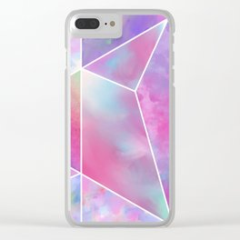 Geometrical abstract pink teal lilac watercolor stripes triangles Clear iPhone Case