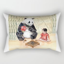 Playing Go with Panda Rectangular Pillow