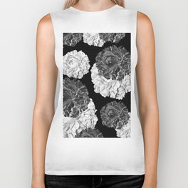 CABBAGE ROSES BLACK AND WHITE Biker Tank