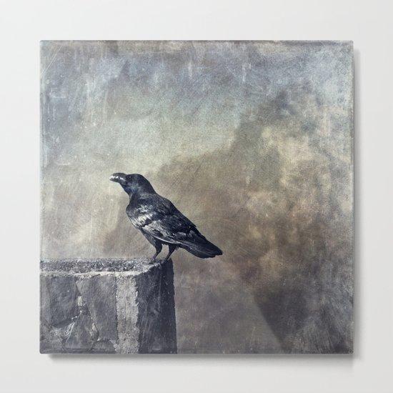 munching raven Metal Print