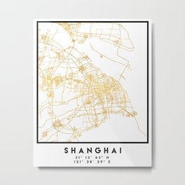 SHANGHAI CHINA CITY STREET MAP ART Metal Print
