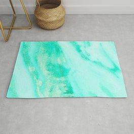 Shimmery Sea Green Turquoise Marble Metallic Rug
