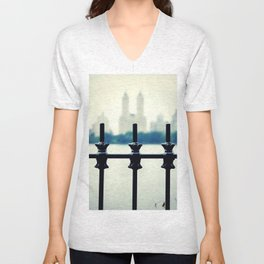 NYC Central Park Two Towers, New York City, Manhattan Unisex V-Neck