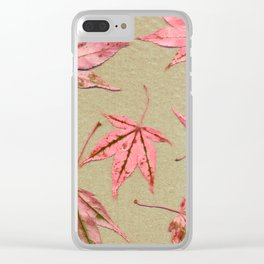 Japanese maple leaves - pink on natural unbleached paper Clear iPhone Case