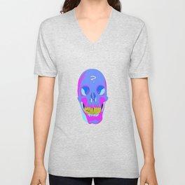 Neon Pixel Psychaedelic Halloween Skull  Unisex V-Neck