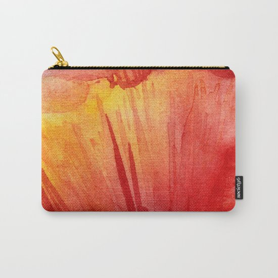 Red Orange Abstract Watercolor Texture, Poppy Flower Carry-All Pouch