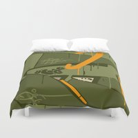 attack on titan Duvet Covers featuring ATTACK by clogtwo