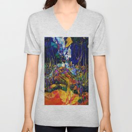beautiful road in the night autumn forest Unisex V-Neck
