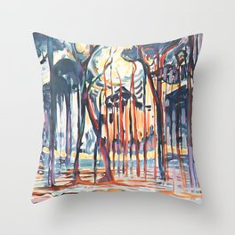 Woods near Oele by Piet Mondrian 1908 // Partial Watercolor Winter Time Forest and Trees at Sunset Throw Pillow