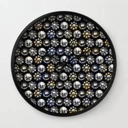 Jewelry Pattern.Yellow and Blue Crystals on Black background Wall Clock