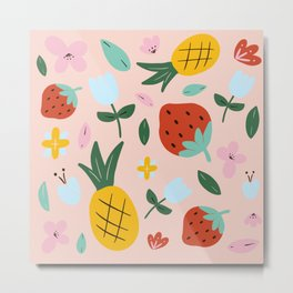 Strawberry and pineapple hand-painted Metal Print