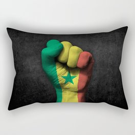 Senegal Flag on a Raised Clenched Fist Rectangular Pillow