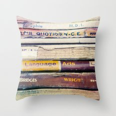 Vintage School Books Throw Pillow