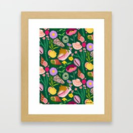 Shells & Flowers Pattern Framed Art Print