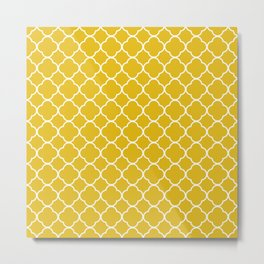Mustard Yellow Clover Pattern Metal Print