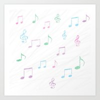 music notes Art Prints featuring Music Notes by Hawkingjay