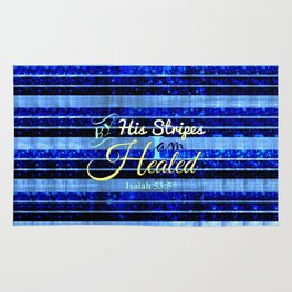 BY HIS STRIPES Colorful Blue Stripes Bible Scripture Fine Art Pattern Typography God Jesus Faith Rug