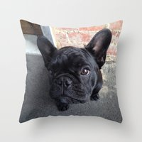 frenchie Throw Pillows featuring Frenchie by Gabrielle Burns