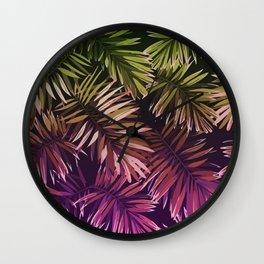 Green & Purple palm leaves Wall Clock