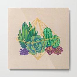 Geometric Terrarium 3 Acrylic on Wood Painting Metal Print
