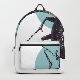 Black Beetle bug with blue moon Backpack