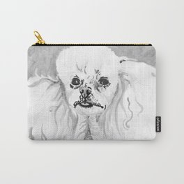 Black and White Toy Poodle Carry-All Pouch