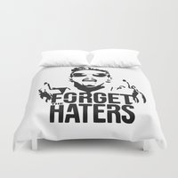 miley cyrus Duvet Covers featuring Miley Cyrus / Forget the haters by Luigi Lara