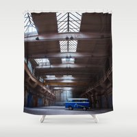 vw bus Shower Curtains featuring Dark side of the VW bus by monicamarcov