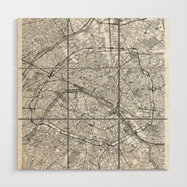 Paris Map Line Wood Wall Art