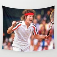 tennis Wall Tapestries featuring McEnroe Tennis by BixAri