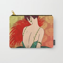 Art Deco Lady with Damask - BIANCA: Christmas Past Carry-All Pouch