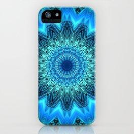 Bright Blue Green Detailed Mandala iPhone Case
