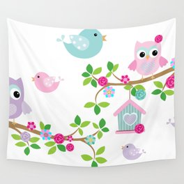 Búhos, Pájaros y  ramas de arboles Wall Tapestry