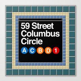 subway columbus circle sign Canvas Print
