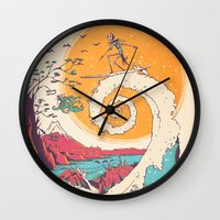 friends Wall Clocks featuring Surf Before Christmas by Victor Vercesi