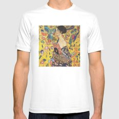 Gustav Klimt Lady With Fan  Art Nouveau Painting MEDIUM Mens Fitted Tee White