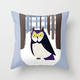 Owl in the Forest Throw Pillow