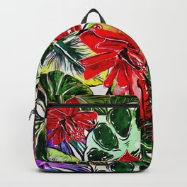 Exotic Passiflora Flowers Jungle Aloha Pattern Backpack