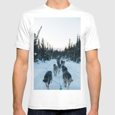 SNOW - HUSKIES - SLED - FOREST White MEDIUM Mens Fitted Tee