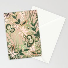 Detailed square of peach and green floral tangle Stationery Cards