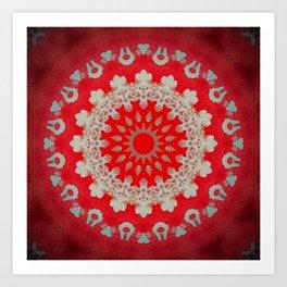 Bright Red Mandala Art Print