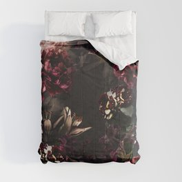 Vintage bouquets of garden flowers. Roses, dark red and pink peony.  Comforters